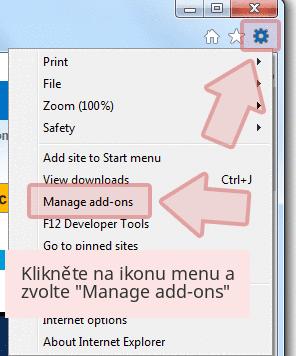 Klikněte na ikonu menu a zvolte 'Manage add-ons'