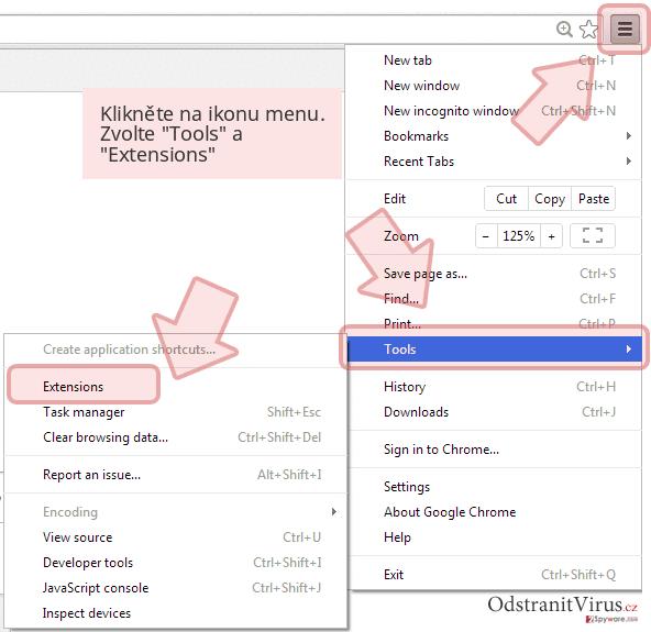 Klikněte na ikonu menu. Zvolte 'Tools' a 'Extensions'