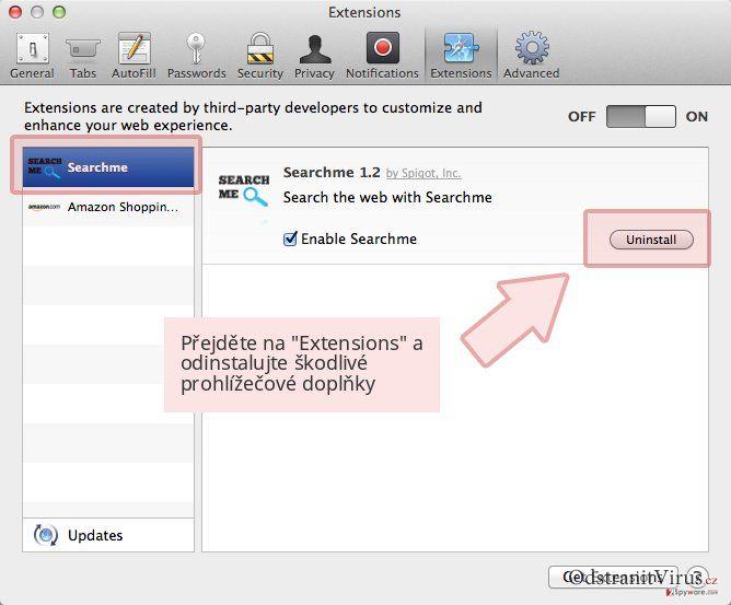 Přejděte na 'Extensions' a odinstalujte škodlivé prohlížečové doplňky