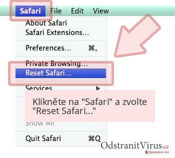 Klikněte na 'Safari' a zvolte 'Reset Safari...'