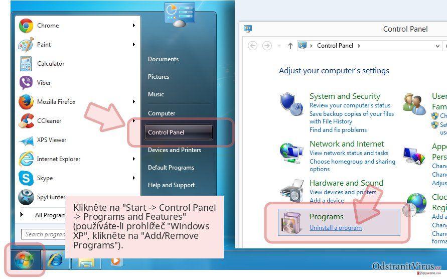Klikněte na 'Start -> Control Panel -> Programs and Features' (používáte-li prohlížeč 'Windows XP', klikněte na 'Add/Remove Programs').
