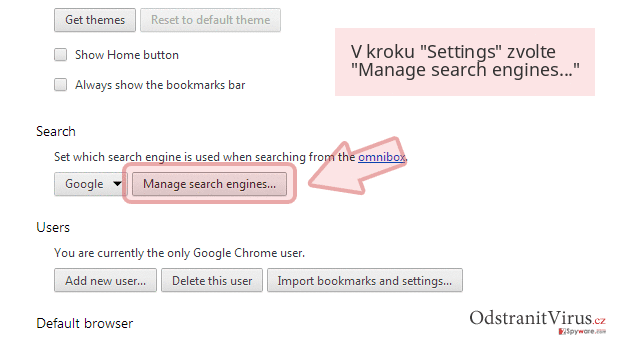 V kroku 'Settings' zvolte 'Manage search engines...'