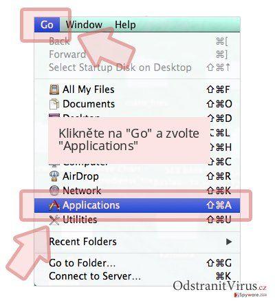 Klikněte na 'Go' a zvolte 'Applications'