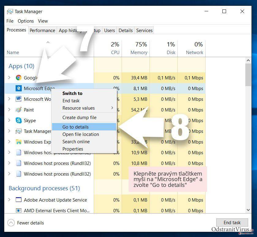 Klepněte pravým tlačítkem myši na 'Microsoft Edge' a zvolte 'Go to details'
