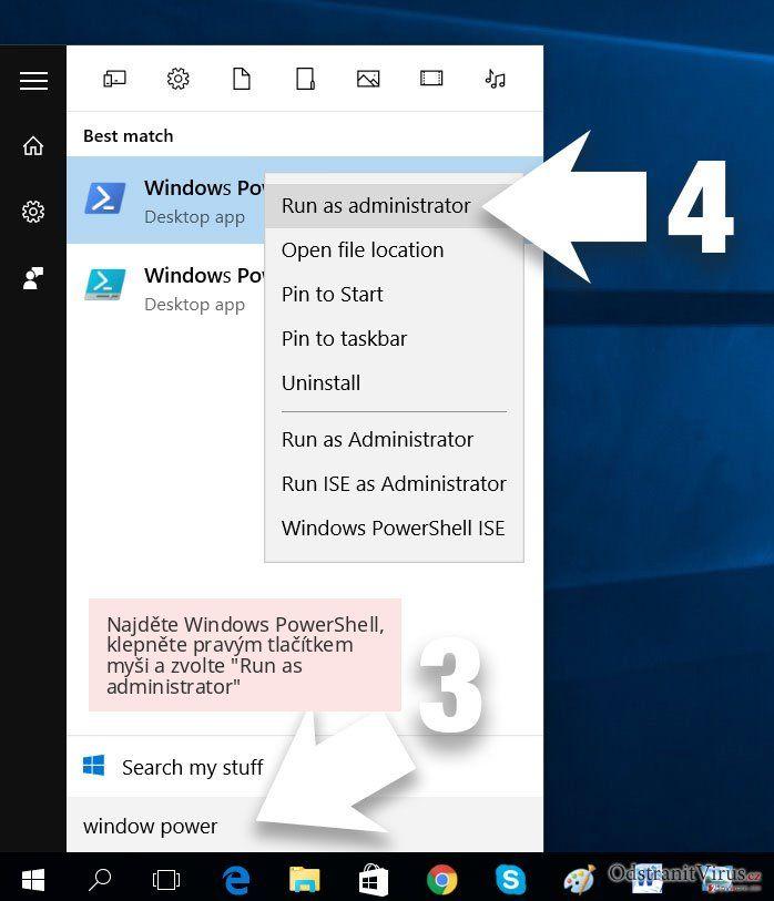 Najděte Windows PowerShell, klepněte pravým tlačítkem myši a zvolte 'Run as administrator'