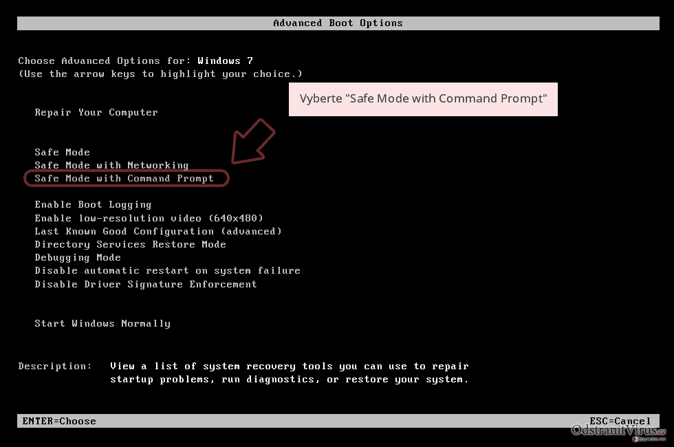 Vyberte 'Safe Mode with Command Prompt'