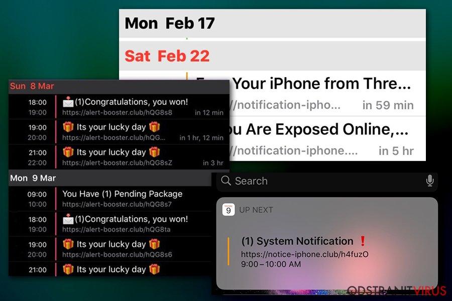Oznámení od viru v Kalendáři