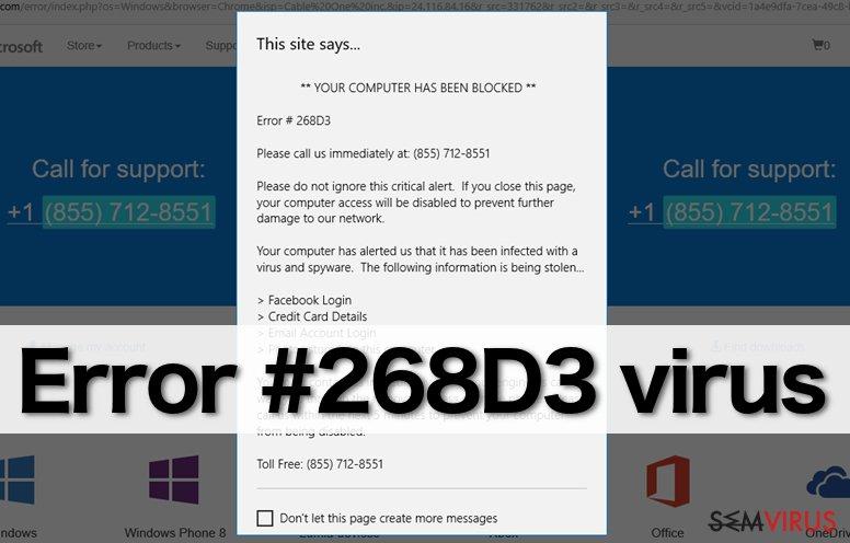 """obrázek pro """"Error #268D3"""" virus"""